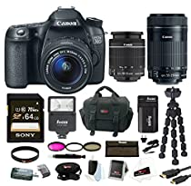 Canon EOS 70D SLR CMOS 20.2MP Digital Camera with EFS 18-55mm Lens + Canon EF-S 55-250mm f/4.0-5.6 IS II Telephoto Zoom Lens + 64GB SDXC Card + Digital Slave Flash + 3 Filter Set + Deluxe Accessory Bundle