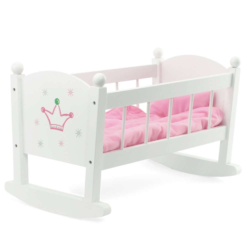 Amazon.com: Baby Doll Cradle Or Crib Rocking Furniture | Fits Baby Dolls  And 18 Inch American Girl Dolls | Includes Mattress U0026 Quilted Bedding: Toys  U0026 Games