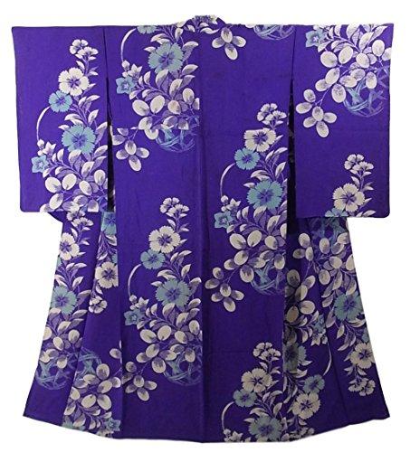 アンティーク 着物 夏物 絽 秋草の文様 正絹 裄64.5cm 身丈151cm