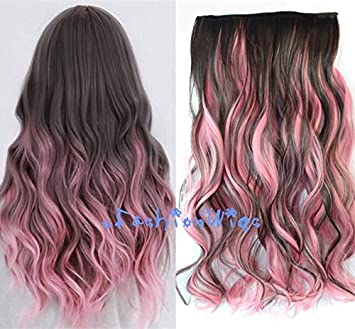 Amazon Com Dark Brown Mixed Pink Two Colors Ombre Hair Extensions
