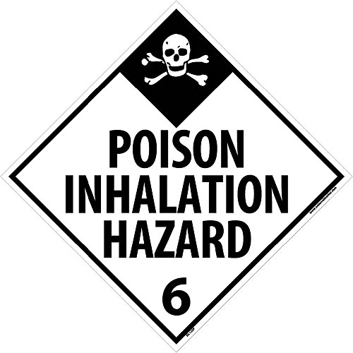 DL125P National Marker Dot Placard Poison Inhalation Hazard Sign 6, 10 3/4 Inches x 10 3/4 Inches, Ps Vinyl
