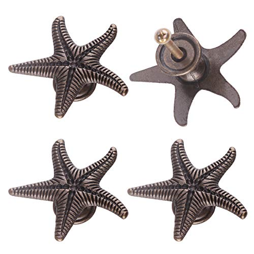 LEE House 4 Pieces Novelty Starfish Shape Door Knobs Drawer Cabinet Cupboard Single Hole Pull Handles Bronze Color