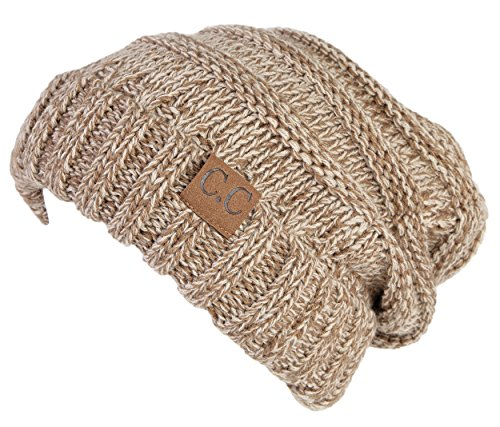 Taupe Mix (H-6100-6245 Oversized Slouchy Beanie - A Mocha Taupe Tricolor Mix)