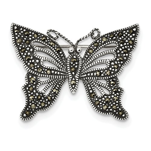 925 Sterling Silver Antiqued Black Marcasite Butterfly Pin for Women
