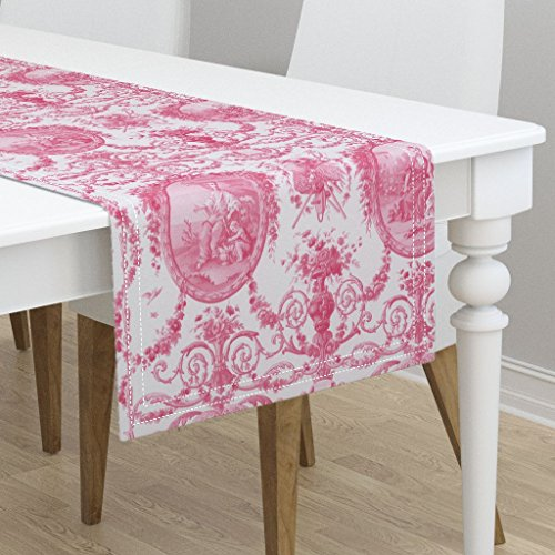 Table Runner - Rococo Pink Marie Antoinette Toile Girl Romantic by Peacoquettedesigns - Cotton Sateen Table Runner 16 x ()
