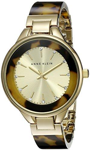 Anne Klein Women's AK/1408CHTO Swarovski Crystal Accented Gold-Tone Tortoise Resin Bangle Watch