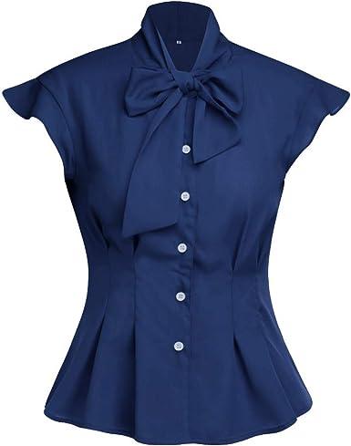 PARVAL Señoras Arco Sólido Blusa de Manga Corta Camisa de ...