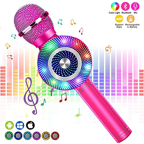 FishOaky Wireless Bluetooth Karaoke Microphone, Portable Kids Microphone Karaoke Player Speaker with LED  Music Singing Voice Recording for Home KTV Kids Outdoor Birthday Party (Rose Red 01)