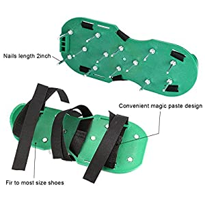 Lawn Aerator Shoes - GresaPop Spikes Lawn Aerator Sandals With 3 Velcro Straps,Best Lawn Aeration tools for Aerating Your Lawn or Yard, with Gift Box and Free Wrench