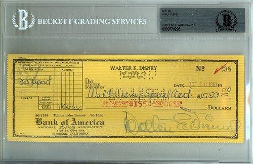 Walt Disney Signed Check - Certified Genuine Autograph By (Disney Personal Checks)
