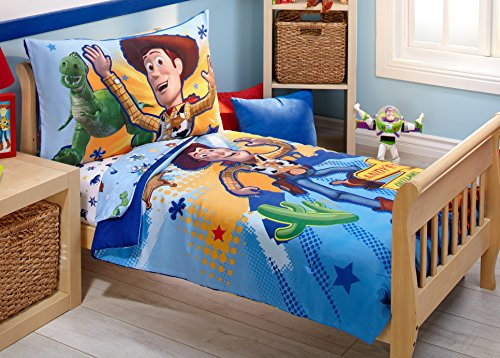 Disney Toy Story 4 Piece Toddler Bedding Set, Blue/Green