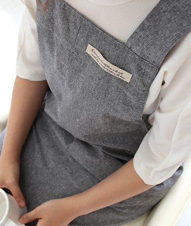 /Couleur GRIS Cr/émaill/ère cadeau Chef Tablier pour femme Style Japonais x forme Denim Veste pour homme Coton Tablier h 95/cm/