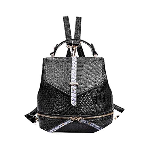 Alligator Backpack Small Backpack Serpentine Backpacks mochila School Bags,Black,18x12x20cm