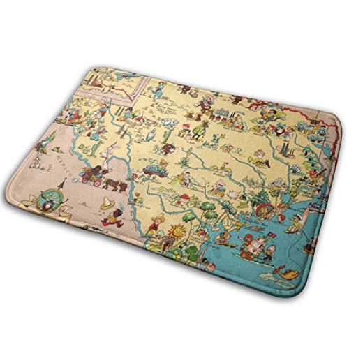 (Texas Cartoon Map Doormat Home Decoration Non-Slip Doormats Indoor/Outdoor/Front Door/Bathroom Entrance Mats Personalized Mat Floor Mat Rug 4060cm)