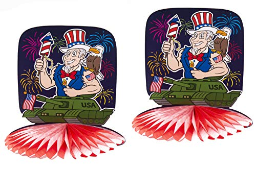 Uncle Sam Riding a Tank with Fireworks Fold Out Table Centerpiece 2 Pack- Patriotic Party Supplies Decoration Idea for 4th of July BBQs Cookouts