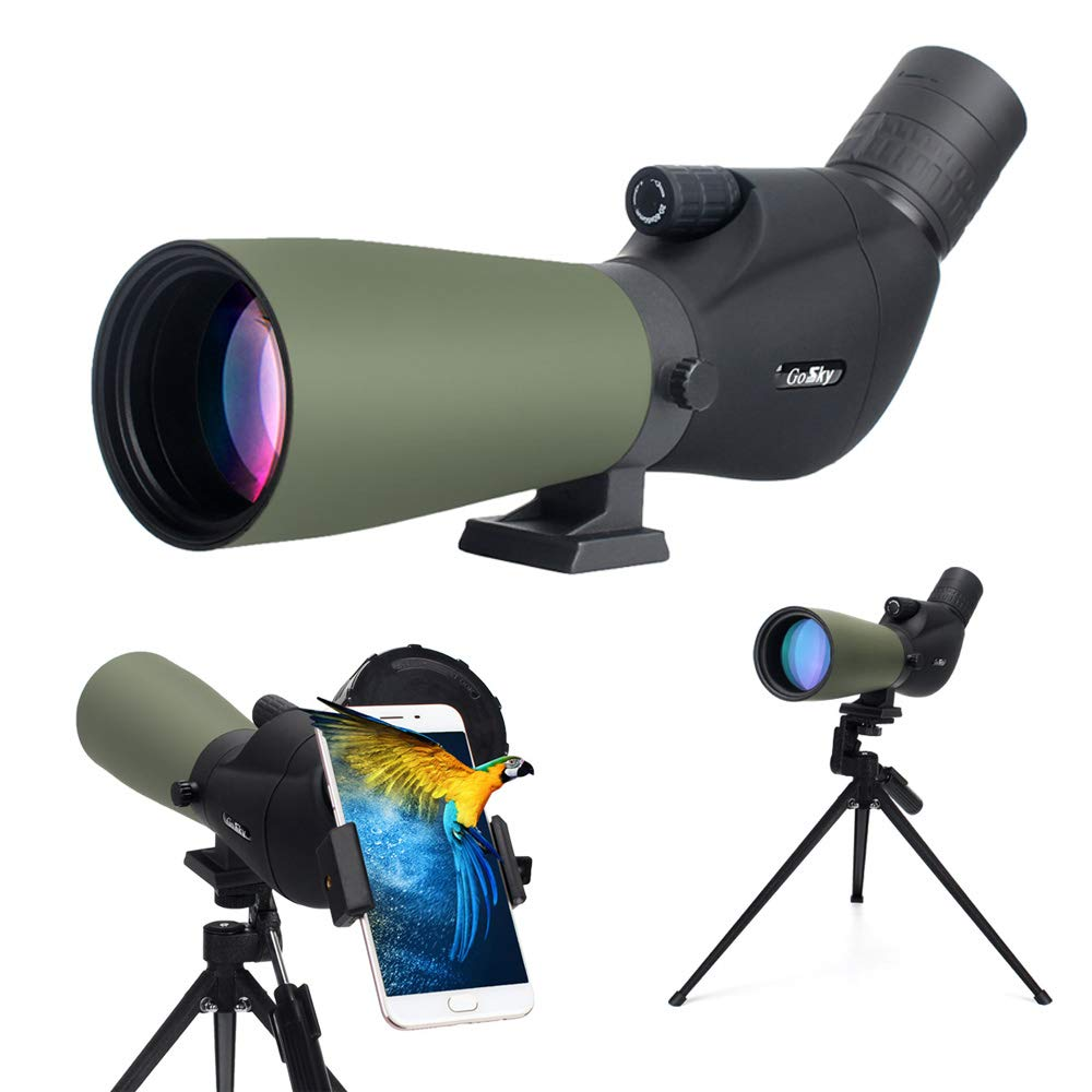 Gosky 20-60x60 Spotting Scope with Tripod, Carrying Bag and Smartphone Adapter - 2019 Newest BAK4 Angled Scope for Target Shooting Bird Watching Wildlife Scenery
