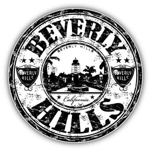 Crazy Discount Vinyl Sticker Decal Beverly Hills City California United States for Windows Car Cell Phone Bumpers Laptop Wal, 5