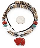 BEAR $290 Retail Tag Authentic Made by Charlene Little Navajo Silver Spiny Oyster, Red Jasper and Turquoise Native American Necklace