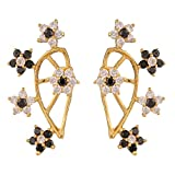 Efulgenz Ear Cuffs Earring Jackets Star CZ Climber Cartilage Black Cuff Wrap Studs