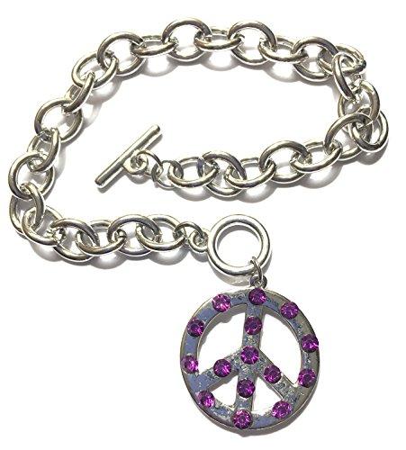 Peace Sign Charm Bracelet crystal stones (Purple) ()
