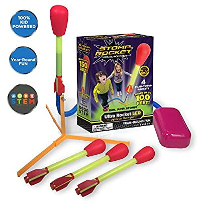 Stomp Rocket Ultra Rocket LED, 4 Rockets - Outdoor Rocket Toy Gift for Boys and Girls- Comes with Toy Rocket Launcher - Ages 6 Years and Up: Toys & Games