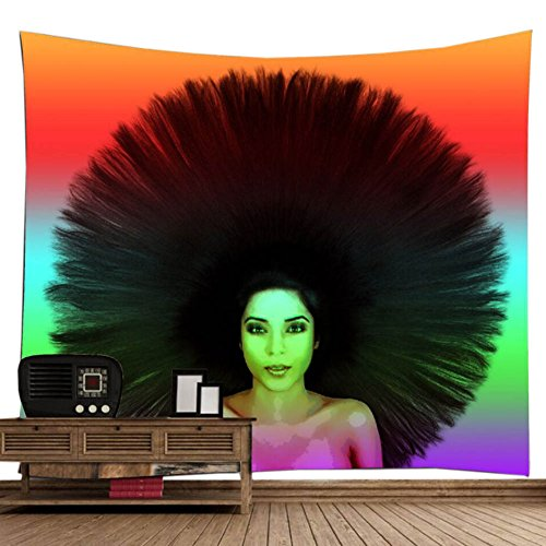 Straight Hair Girl Peacork Hairstyle Fashion Wall Decor Tapestry