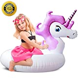 YL-LR Unicorn Pool Float, Unicorn Pool Float for Kids, Inflatable Swimming Pool Float Ride on WaterRaft Swim Ring Pool Floaties for Girl Children Boy Beach,Party,and Decoration T(Unicorn Purple)