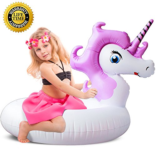 Pool Float, Unicorn Pool Float for Adult Kid, Inflatable Swimming Pool Float Ride on Water Raft Swim Ring Pool Floaties for Girl Children Boy Beach, Party, Bath time, and Decoration T (unicorn purple) - Girl Pool