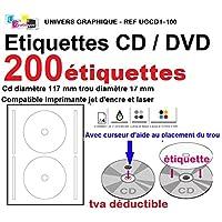 200 étiquettes CD - DVD autocollantes standard autocollant de diamètre 117 mm + trou 17 mm - livré avec curseur de placement – feuille de 2 étiquettes – étiquette cd/dvd pour imprimante jet d'encre et laser- pour imprimer et personnaliser vos cd avec des images ou textes - compatibles tous logiciels standards - Marque UNIVERS GRAPHIQUE - RÉFÉRENCE UGCD1