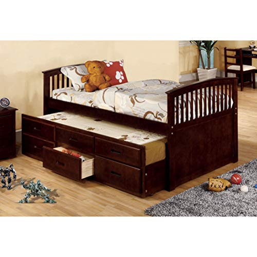 Furniture of America Bernadette Dark Walnut Mission Style Captain Bed with Storage Trundle ()