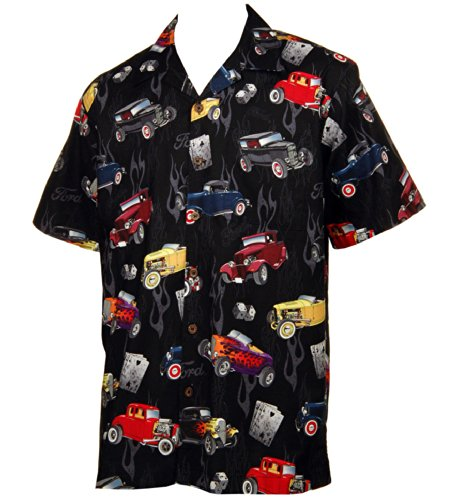 Two Pocket Camp Shirt (Ford '32 Deuce Coupes Hot Rod Cars Hawaiian Camp Shirt by David Carey (L))