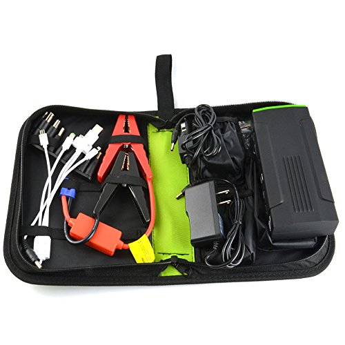 Esmezon Emergency Auto Heavy Duty Jump Starter For Truck Van SUV and More-Portable 600 AMP Peak Car Battery Jump Starter Power Bank Charger With 16500mAh