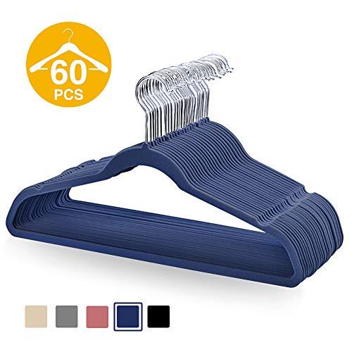 HOUSE DAY Pack of 60 Navy Blue Velvet Hangers Velvet Suit Hangers Non Slip Space Saving Clothes Hanger Suit Hanger Durable Adult Hanger for Suit,Shirts,17.7 inch