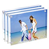 AMEITECH Acrylic Picture Frames, 4x6'' Clear Double Sided Block Set, Desktop Frameless Magnetic Photo Frame (3 Pack)