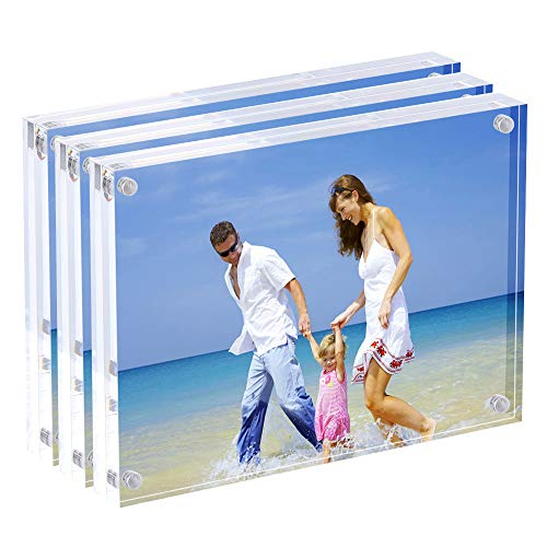 AMEITECH 5x7 Acrylic Photo Frame, Magnetic Picture Frames, 10 + 10MM Thickness Stand in Desk or Table, Clear (3 Pack)