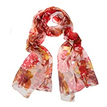 ChikaMika Womens Floral Pattern Chiffon Silk Scarves Red Lightweight Scarves