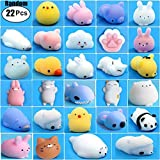 Mochi Squishy Toys, 22pcs Random Mini Cute Squishies Animals for Party Favors, Soft Kawaii Bear Cat Tiger Pig Panda Stress Reliever Anxiety Squeezables Fidget Hand Toys for Kids and Adults Gift.
