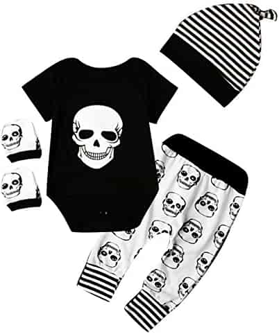 4769adac9d6b 4pcs Newborn Baby Boys Girls Skull Romper+Pants+Hat+Mitten Halloween Outfit  Set