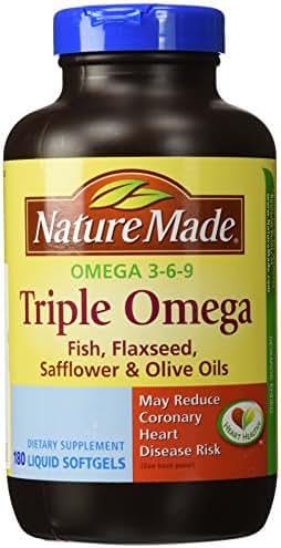 Nature Made Triple Omega 3 6 9 - Fish, Flaxseed, Safflower & Olive Oils - 180 Softgels