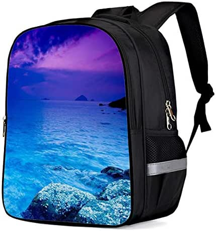 Unisex Durable School Backpack- Beautiful Purple Sky and Blue Ocean, Lightweight Oxford Fabric School Bags with Reflective Strip Daypack Laptop Bags