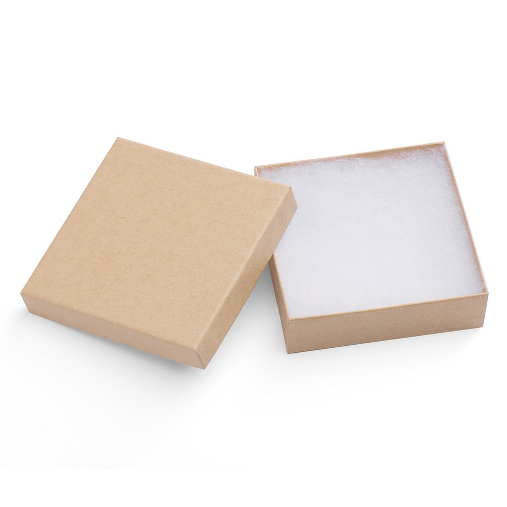 41bf278654c MESHA Jewelry Boxes 3.5x3.5x1 Inches Paper Gift Boxes Natural Cardboard  Bracelet Boxes with Cotton Filled Pack of 20 (nature)