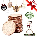 """30Pcs 2.4""""-2.8"""" Unfinished Natural Wood Slices Craft Wood Kit Unfinished Predrilled with Hole Wooden Circles for Arts and Crafts Christmas Ornaments DIY Crafts (30 Pcs 2.4""""-2.8"""")"""