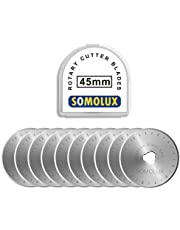 Rotary Cutter Blades 45mm 10 Pack by SOMOLUX,Fits OLFA,Fiskars,DAFA,Dremel,Truecut Replacement, Quilting Scrapbooking Sewing Arts Crafts,Sharp and Durable