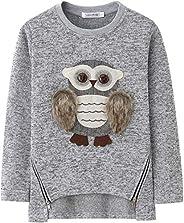 Big Girls Sweatshirts Cute Owl Pullover Warm Fleece Sweater for Girls