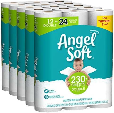 Angel Soft Toilet Paper, 60 Double Rolls, 60 = 120 Regular Rolls, Bath Tissue, 5 Packs of 12 Rolls