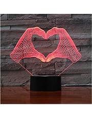 3D Night Light Love Heart Hand Gesture 3D LED Night Light con 7 colores Luz para la decoración del hogar Lámpara Amazing Optical Light Xmas Gift 3D