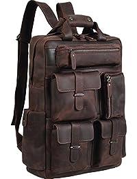 Mens Handcrafted Real Leather Vintage Laptop Backpack Shoulder Bag Travel Bag Large