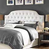 Button Tufted Faux Leather King Size Headboard, Made from Sturdy Wood Construction, White FInish, Arched Design, Padded Headboard, Bundle with Our Expert Guide with Tips for Home Arrangement