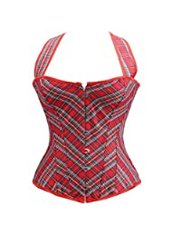 Grebrafan Plaid Boned Cupless Shaper Halter Corset Top