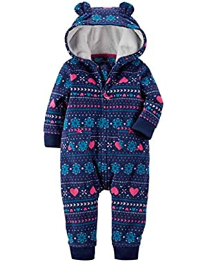 Carters Infant Girls Blue FairIsle Hooded Fleece Jumpsuit Coverall Outfit